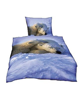 Bettwäsche Eisbären Animals Wildlife Bezug 155x220 Cm Kissen 80x80cm