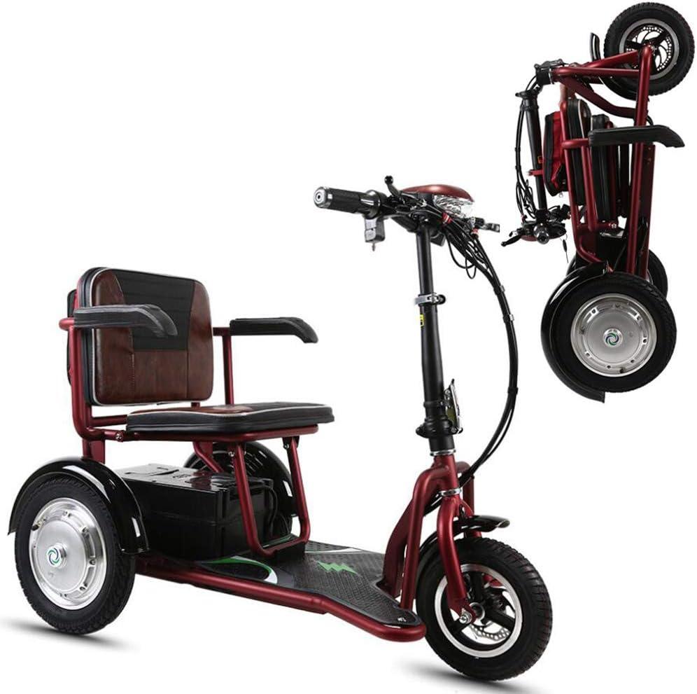 WLY Scooter eléctrico Plegable Triciclo 48v20A Doble Unidad de 700W de Potencia Fuerte 55 kilometros/al Aire Libre, Personas Mayores, Personas con discapacidad de Movilidad Silla de Ruedas eléctrica