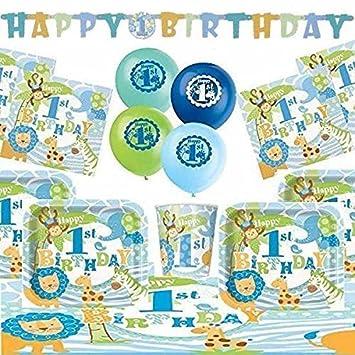 1st Cumpleaños Azul Safari Ultimate Artículos Para Fiestas Kit para 8