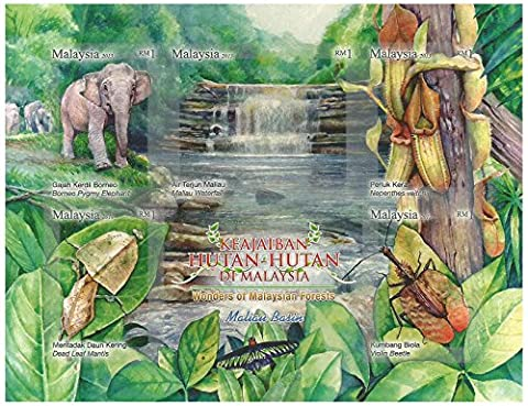 Wonders of Malaysian Forest miniature stamps sheet - Borneo Pogmy Elephant - Dead leaf Mantis - Maliau Waterfall - Nepenthes veitchii - Violin Beetle - Malaysia / 2013 / MNH