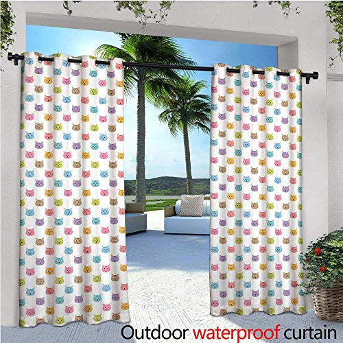 """Cat Outdoor Privacy Curtain for Pergola Colorful Pattern of Faces Kids Boys Girls Nursery Design Domestic Lovely Pets Meow Thermal Insulated Water Repellent Drape for Balcony W72"""" x L108"""" Multicolor"""