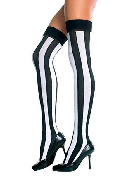 dc5d0731f Black   White Vertical Stripe Thigh High Stockings at Amazon Women s  Clothing store  Casual Socks