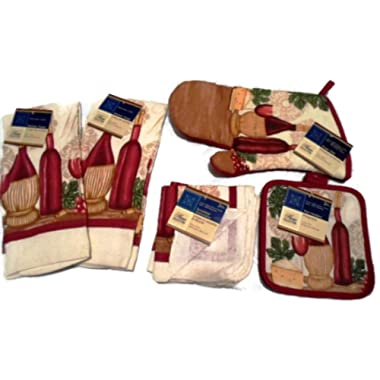 Home Collection Tuscan Wine Theme 7 Piece Kitchen Linen Bundle With 2 Dish Towels, 2 Dish Cloths, 2 Potholders, and 1 Oven Mitt,Red