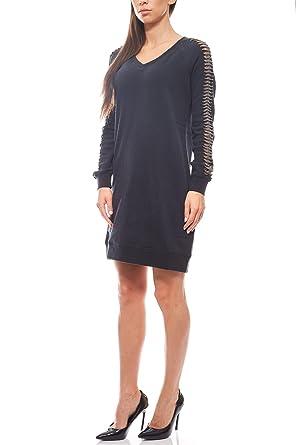 Garcia Pulloverkleid Damen Schwarz Sweatkleid Kleid Jeans Knielanges bfyv7gY6