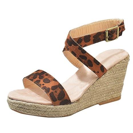 Sandalias de Punta Descubierta para Mujer Alpargatas Plataforma Bohemias Romanas Zapatos de Playa Zapatillas Tacon Planas