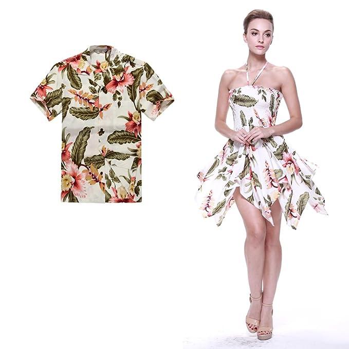Pareja coincidente hawaiana Luau Aloha camisa gitana vestido en Crema Rafelsia 2XL