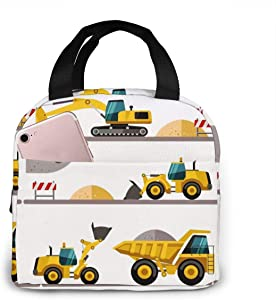 Portable Lunch Tote Bag Boy's Favorite Toy Cartoon Machinery Excavator Truck And Loader Waterproof Reusable Durable Insulated Lunch Boxes For Men Women