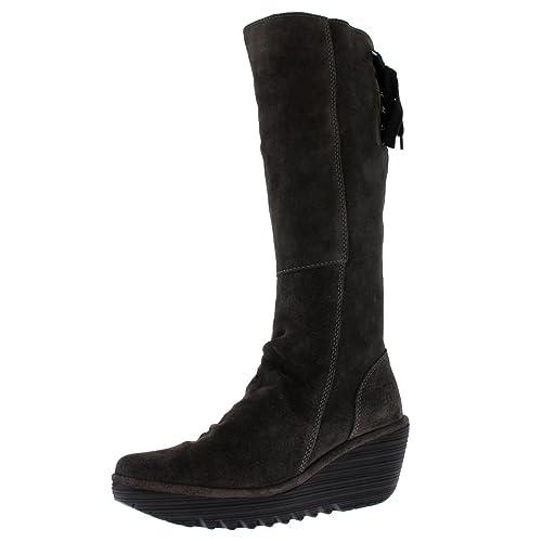 af8c921ad518 Fly London Womens Yust Winter Oil Suede Wedge Diesel Boots Knee Highs -  Diesel - 6