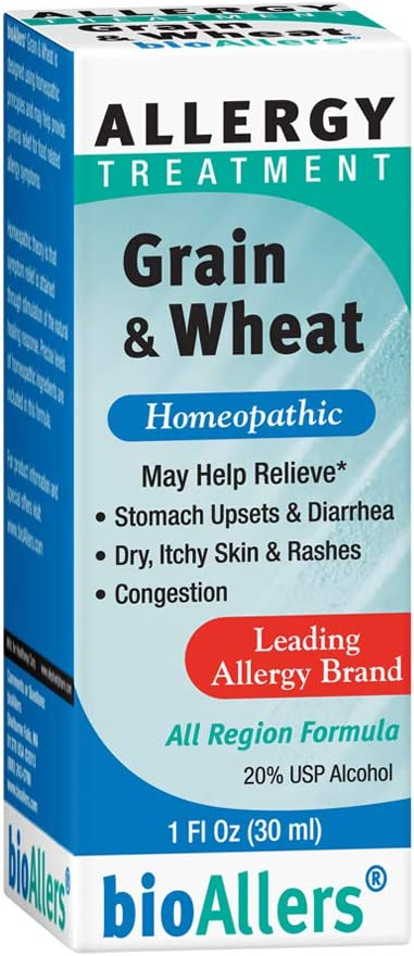 bioAllers Grain & Wheat Homeopathic Allergy Treatment for Upset Stomach, Diarrhea, Skin Issues & Congestion | 1 Fl Oz