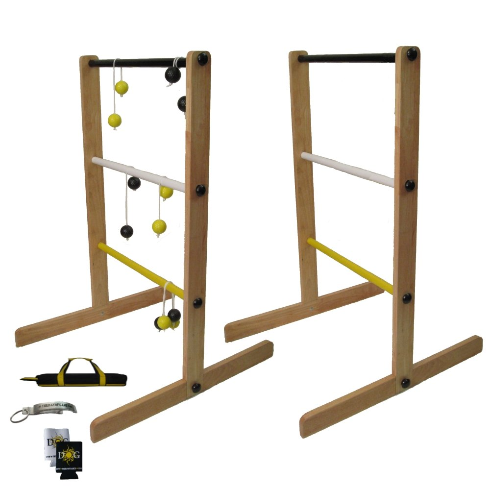 The Day of Games Double Wooden Ladder Toss Game, Yellow/Black/White