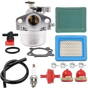 "Kizut Carburetor for Briggs Stratton 799866 Troy Bilt TB230 Toro 22"" Recycler 190cc Craftsman Carb Lawn Mower with Air Filter Spark Plug Fuel Shut Off Valve Primer Bulb Parts"