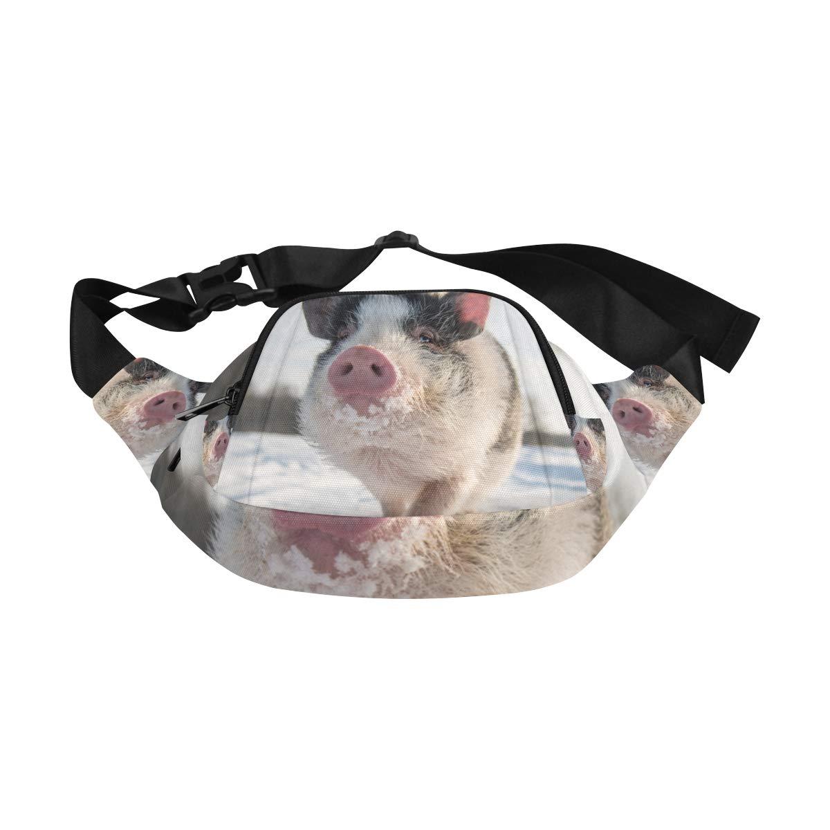 Mini Pig Walking On The Fields Fenny Packs Waist Bags Adjustable Belt Waterproof Nylon Travel Running Sport Vacation Party For Men Women Boys Girls Kids