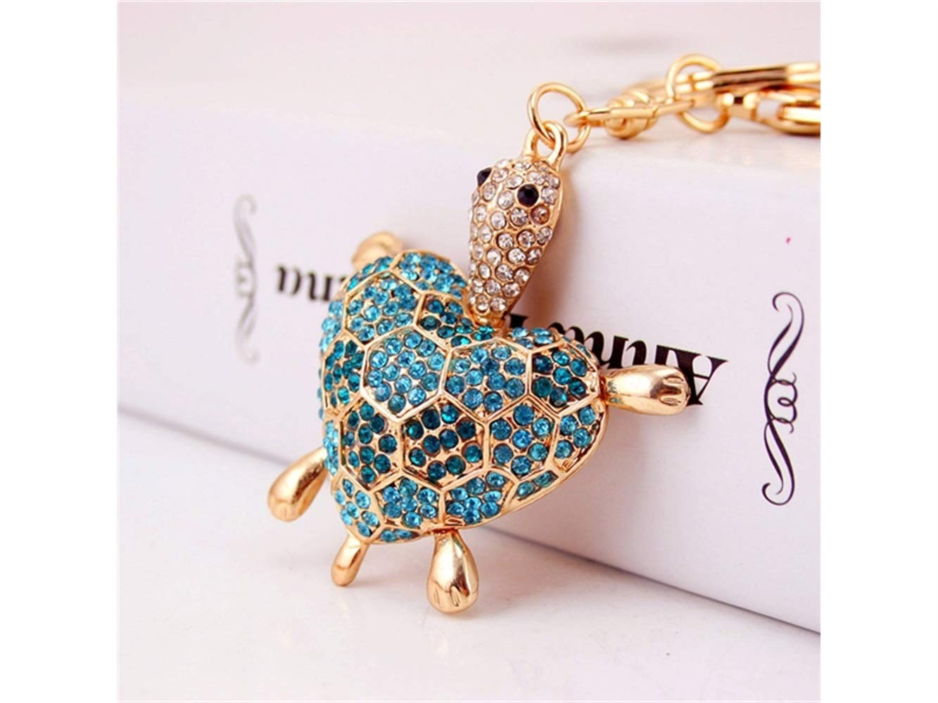 Car Keychain, Cute Diamond Love Back Shell Turtle Keychain Animal Key Trinket Car Bag Key Holder Decorations(Blue) for Gift
