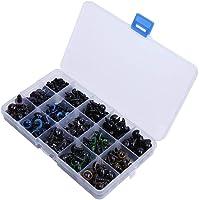 Paquete de 264 Conjuntos de Ojos de Muñeca de Plástico, Ojos de Seguridad Coloridos Con Ciferentes Conjuntos de Arandelas de Color Para la Fabricación de Muñecas, 10,12 mm