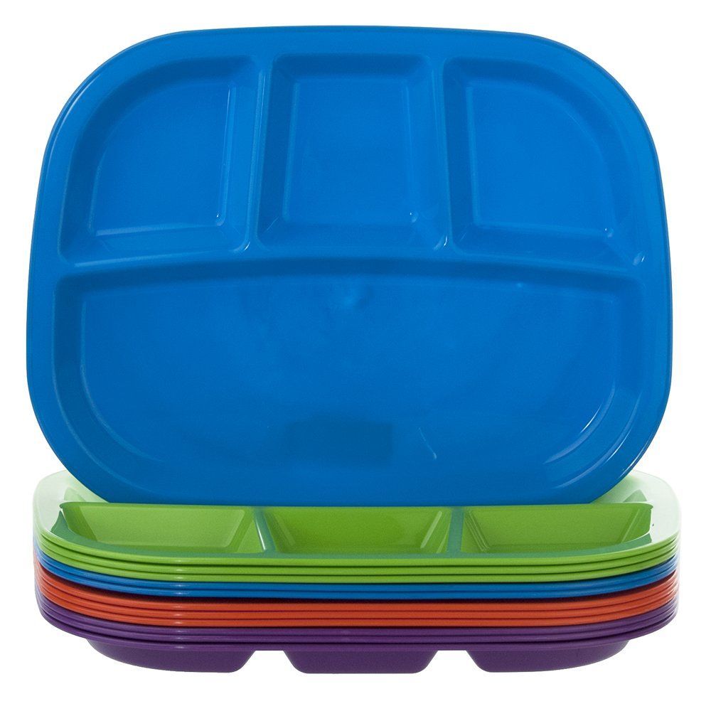 4-Compartment Divided Plastic Dinner Tray | set of 12 in 4 Assorted Colors