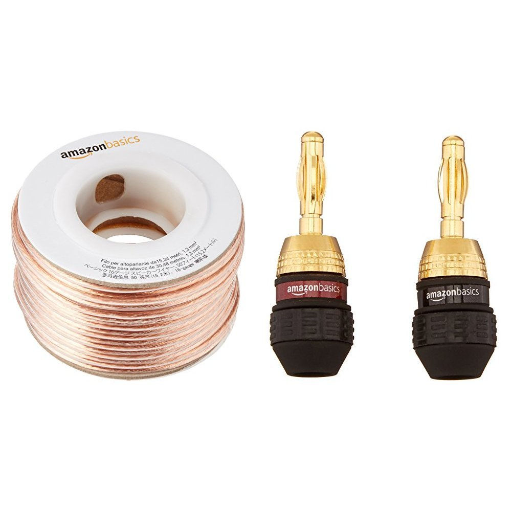 Amazonbasics 16 Gauge Speaker Wire 50 Feet Home Audio Types Of Wiring System In India Theater