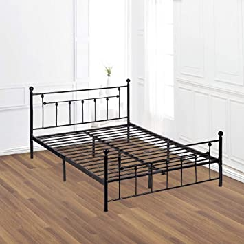 Amazoncom Platform Bed Frame Queen Size Mattress Foundation Heavy