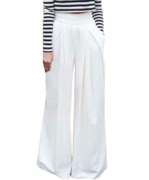 OUFour Donna Moda Gamba Larga Pantalone Baggy Pants a Vita