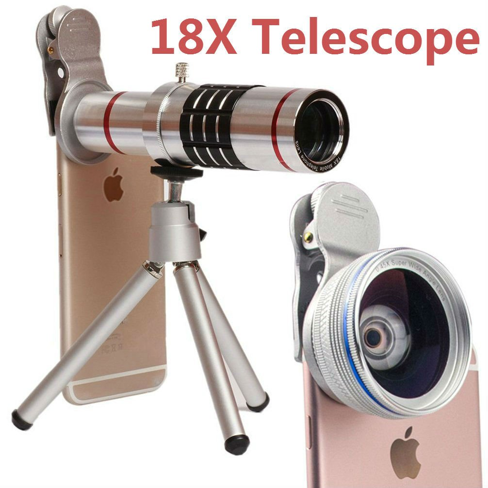 Camera Lens,Hangang Cell Phone Camera Lens, 18X Metal Telescope Tube 18X Optical Manual Focus Telephoto Lens for iPhone and Other Smartphones Include Tripod+Bag+Lens cap+Cloth+Universal clip(silvery)