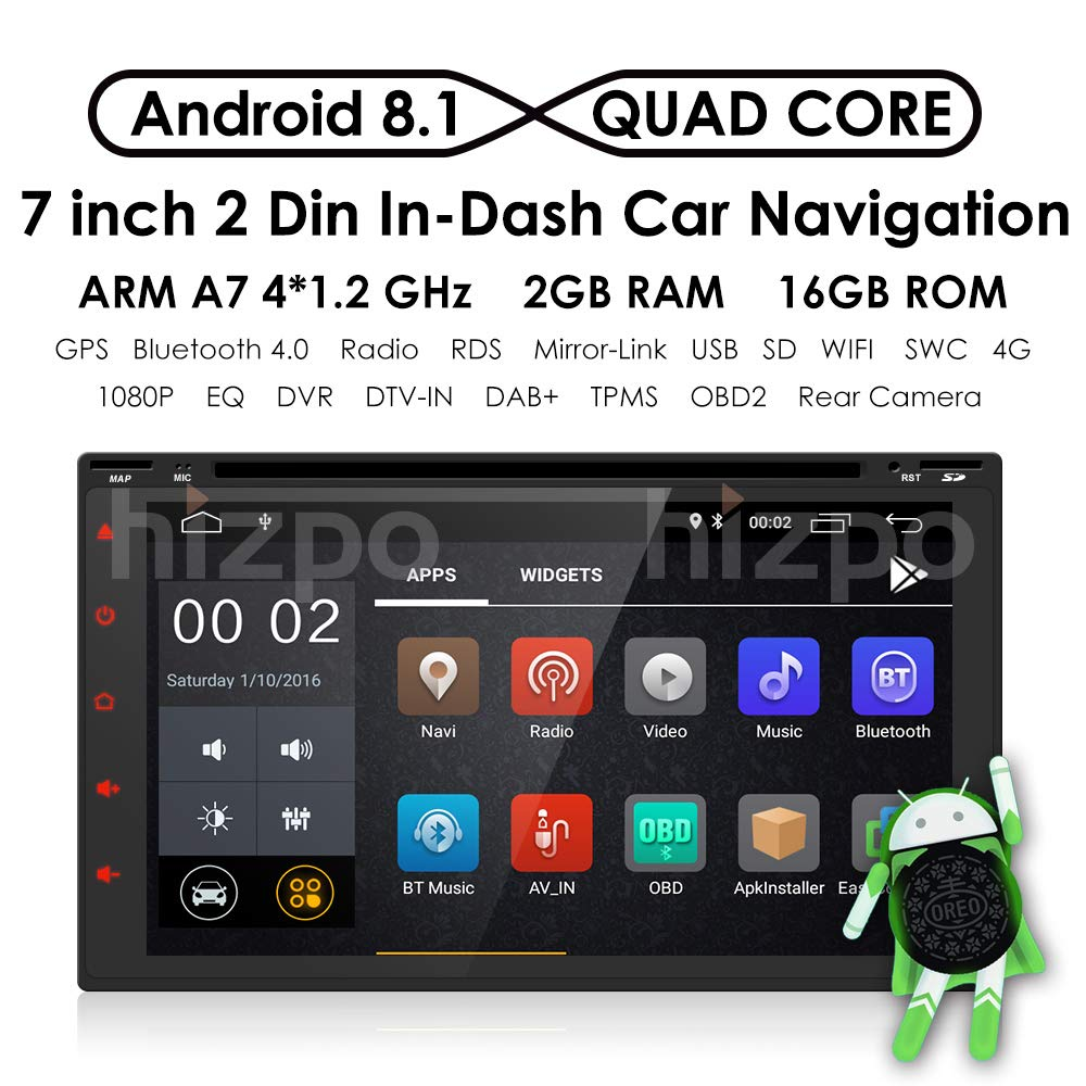 hizpo Android 8 1 Double Din DVD Player Head Unit Universal 2Din Car Auto  Radio Touch Screen Support GPS WiFi DAB+ Android/iPhone Mirrolink Steering