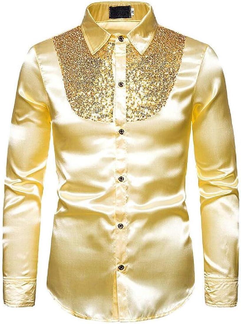YYG Camisas de Vestir de Manga Larga con Lentejuelas para Hombre - Dorado - X-Large: Amazon.es: Ropa y accesorios