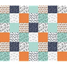 Deer Fabric - Deer Quilt Fabric/Patchwork Cheater Quilt Fabric Wholecloth Baby Orange Mint Navy Blue Boys Nursery by andrea_lauren - Printed on Cotton Poplin Fabric by the Yard