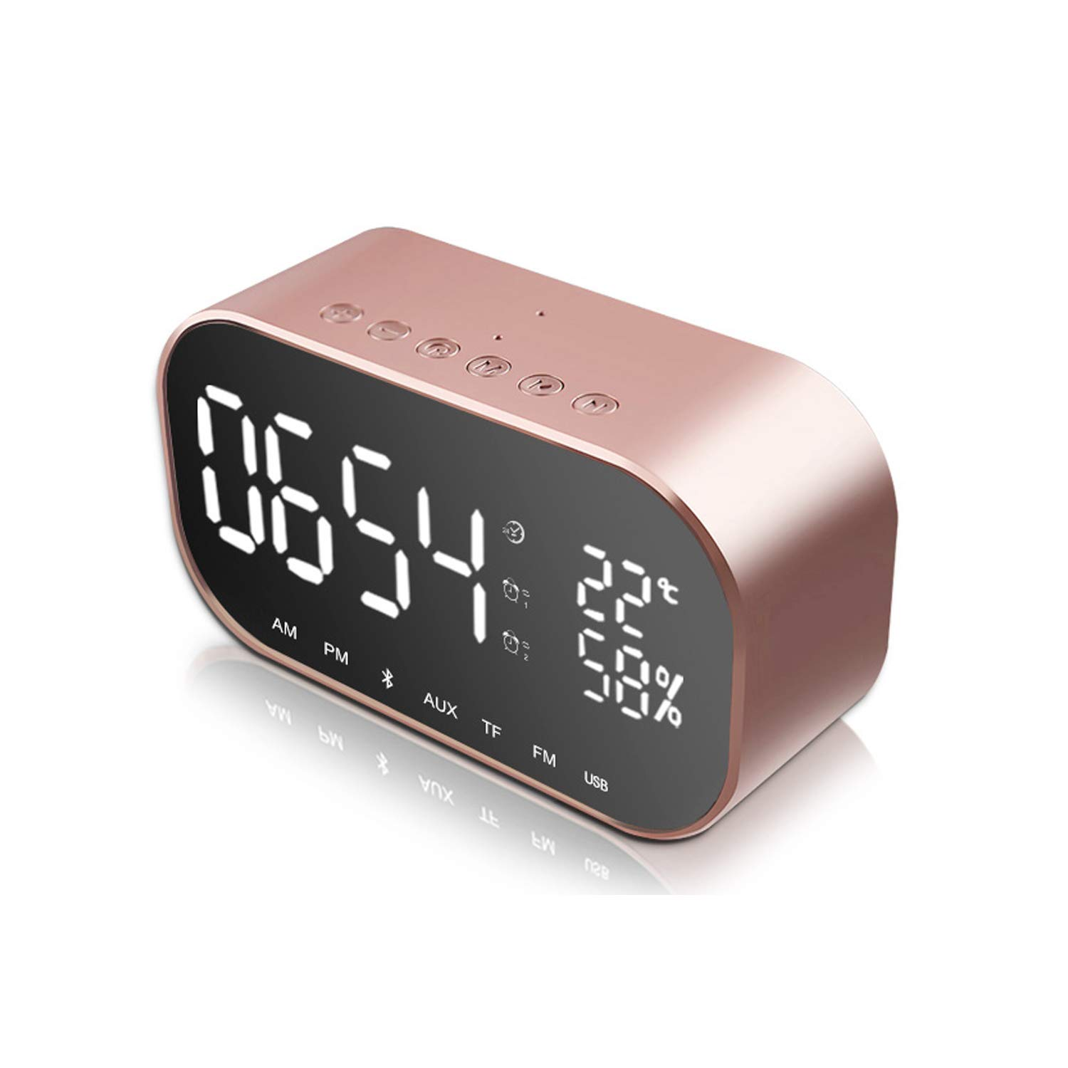 JIM'S STORE Alarm Clock Radio Bluetooth Speaker, Digital Clocks Bedside with Thermometer, Dimmable LED Display, Dual Alarm with Snooze, TF Card Slot, USB Charging Port, FM Radio/AUX-IN (Black) Jim's Stores