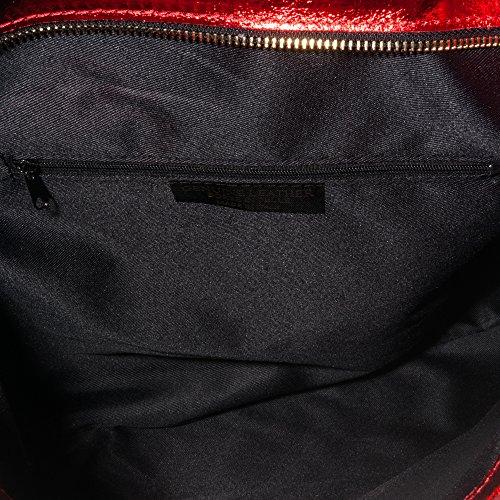 FIRENZE ARTEGIANI.Bolso shopping bag de mujer piel auténtica.Bolso mujer cuero genuino acabado metalizado.Asas en piel Dollaro. MADE IN ITALY. VERA PELLE ITALIANA. 36x31,5x14 cm. Color: AZUL MARINO ROJO