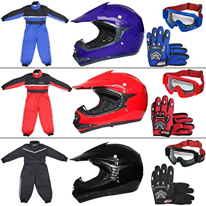 Leopard LEO-X15 Azul Casco de Motocross para Niños (S 49-50cm) + Gafas + Guantes (S 5cm) + Traje de Motocross para Niños - S (5-6 Años)