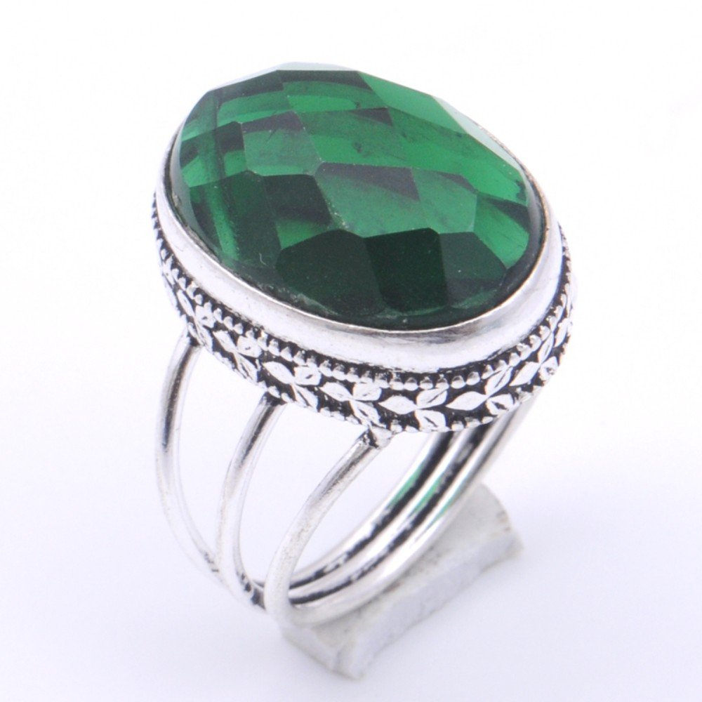 Handmade Jewelry Green Chrome Diopside Quartz Sterling Silver Overlay Ring Size 8.25 US Fantasy