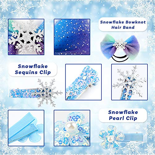 Christmas Snowflake Hair Clips Frozen Hair Bow Frozen Dress Up Accessories for Parties and Dressing-up Games
