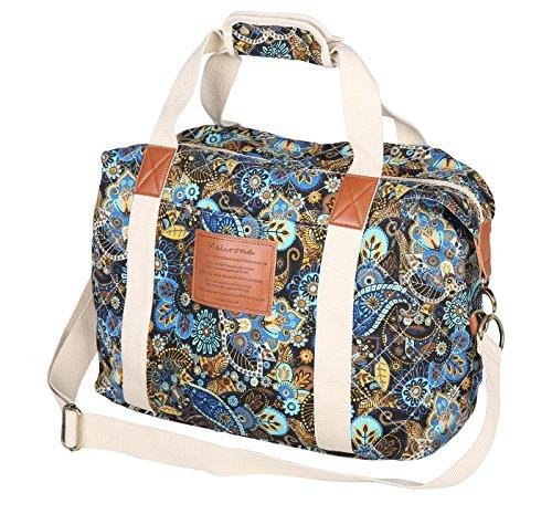 Malirona Ladies Women Canvas Travel Weekender Overnight Carry-on Shoulder Duffel Tote Bag Bohemian Flower Design