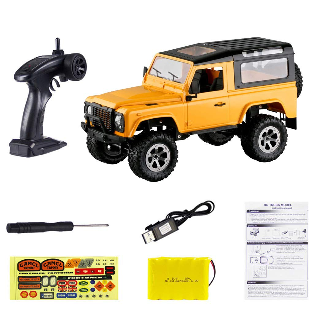 Celendi FY003A 1:16 RC 2.4GHz 4WD Off-Road Metal FrameTruck RC Car Remote Control New (Yellow)