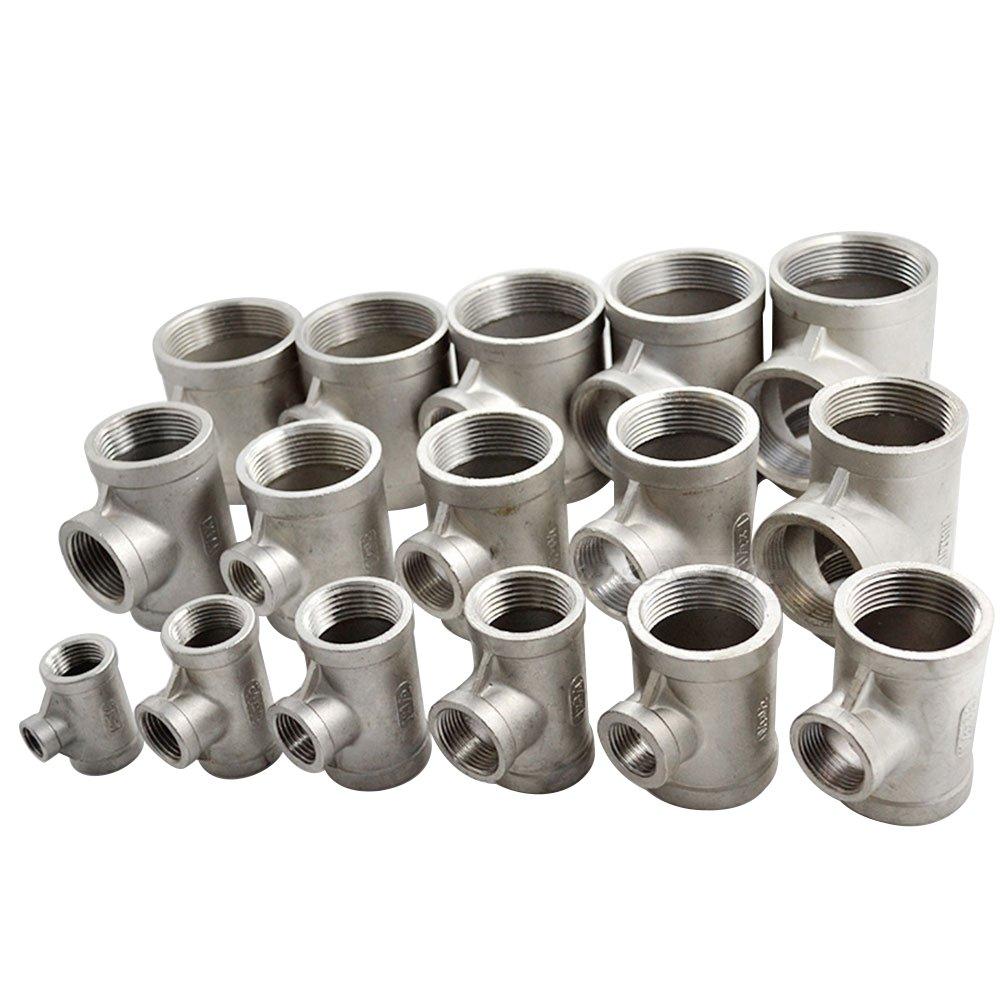 1//2X1//4X1//2 Hembra SS304 Reductor Tee Instalaci/ón De Tuber/ías Roscada SS 304