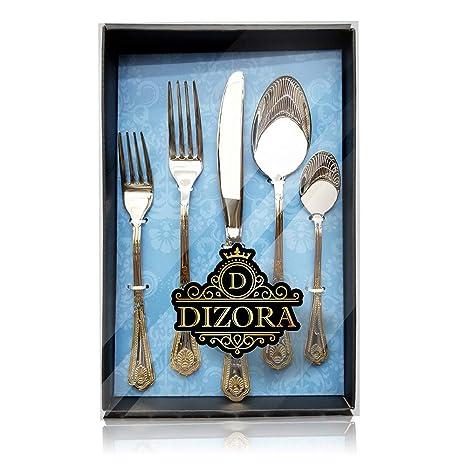 Amazon.com: Dizora - Juego de cubiertos de oro de 75 piezas ...