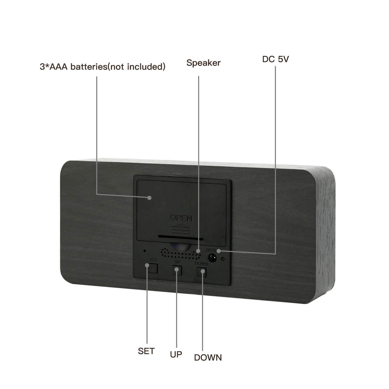 Amazon.com: Reloj despertador de madera LED Digital de ...