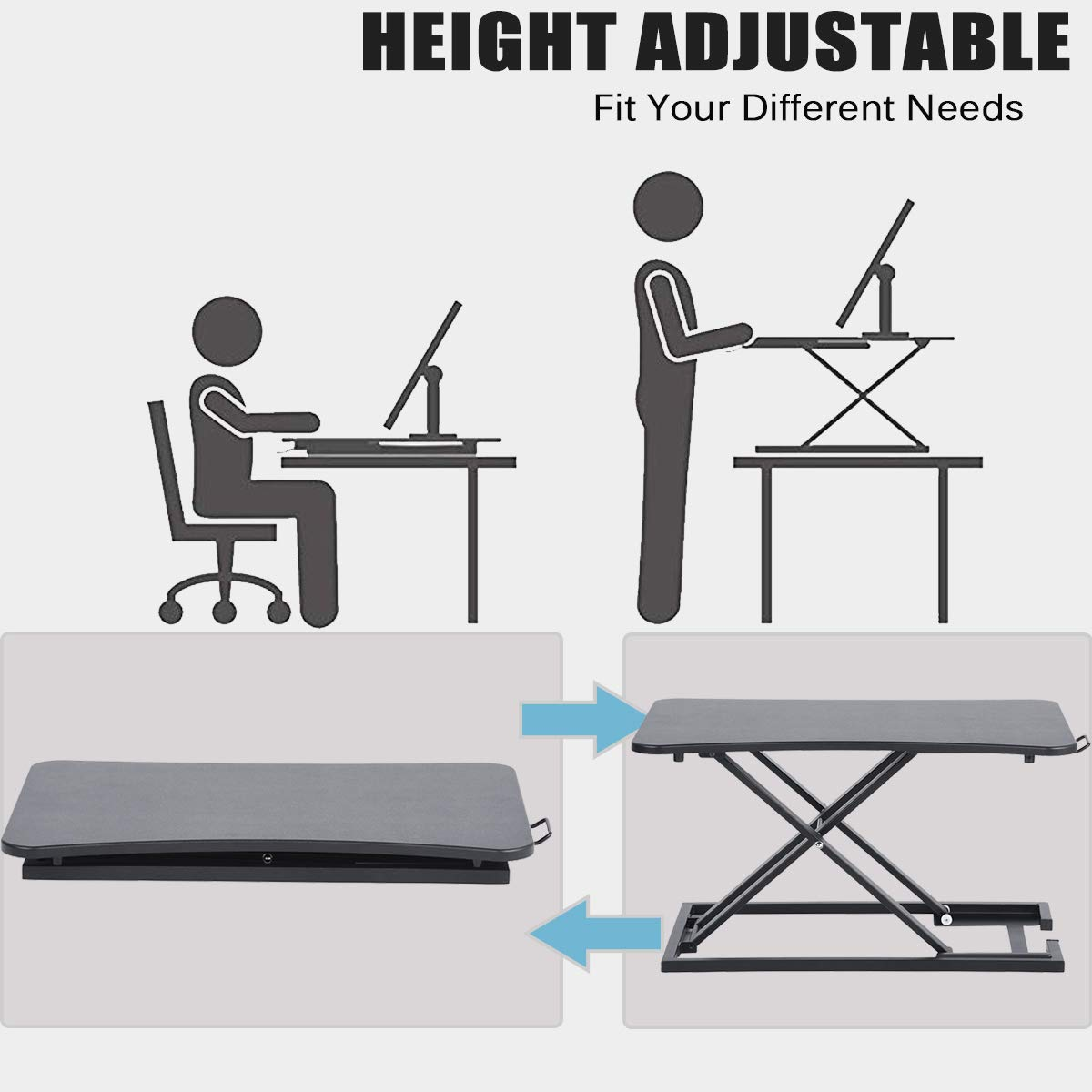 Home Office Furniture Aingoo Standing Desk Converter Height