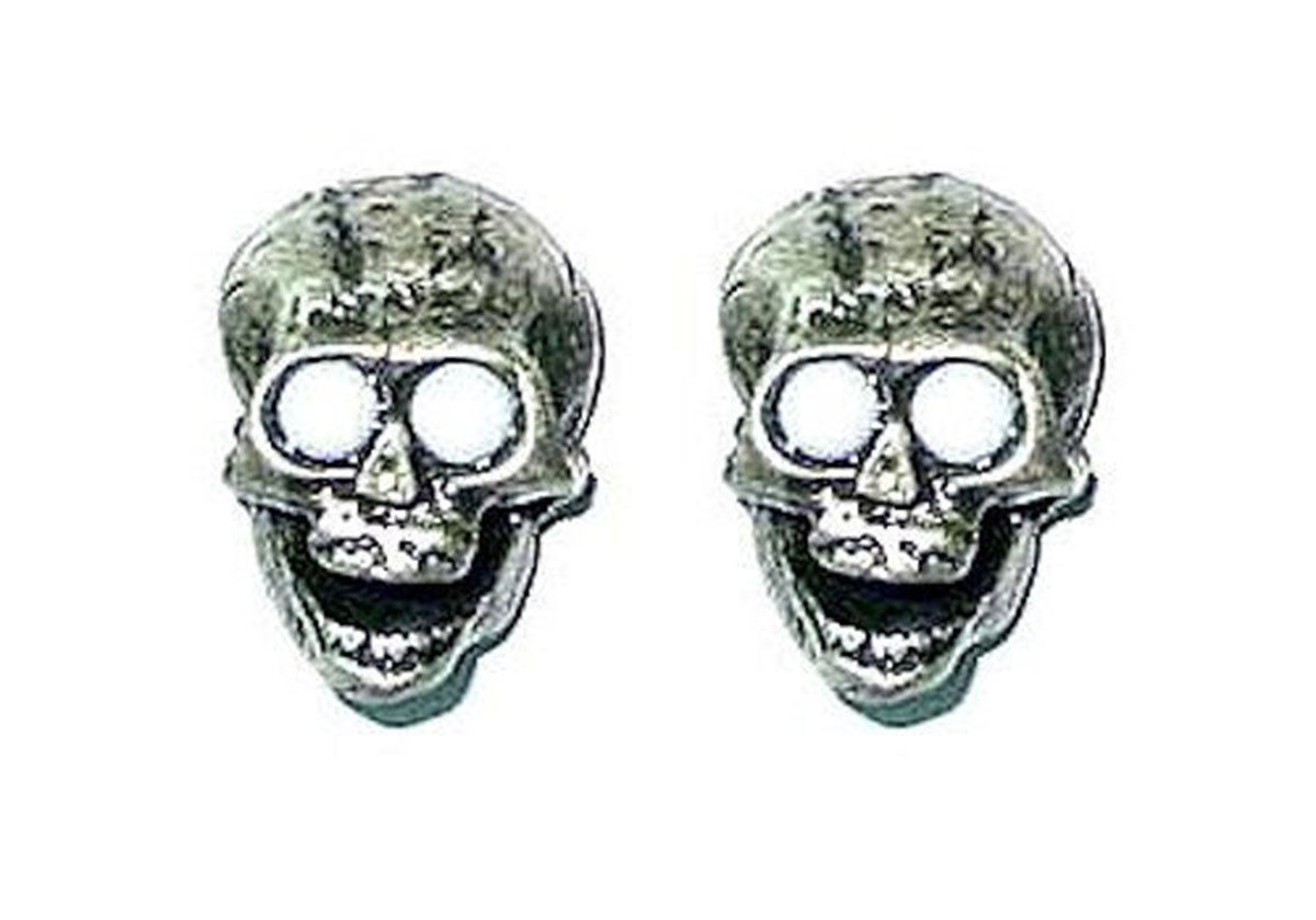 Guitar Parts SKULL KNOBS Set of 2 WHITE Eyes SILVER