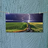 Nalahome Microfiber Towel Decor Summer Storm About to Appear with Flash on The Field Solar Illumination High Absorbency L39.4 x W9.8 inch