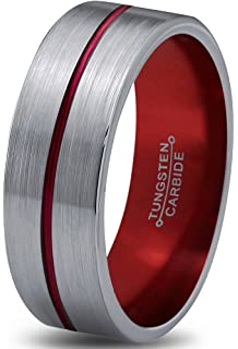 Thin Red Line 8mm Red Epoxy Tungsten Carbide RingAmazoncom