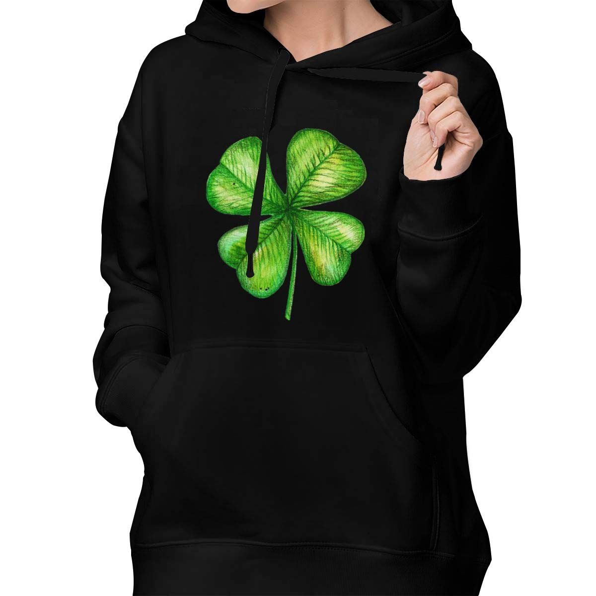Four-Leaf Clover Womens Active Long Sleeve Pullover Hoodie Sweatshirt with Front Pocket