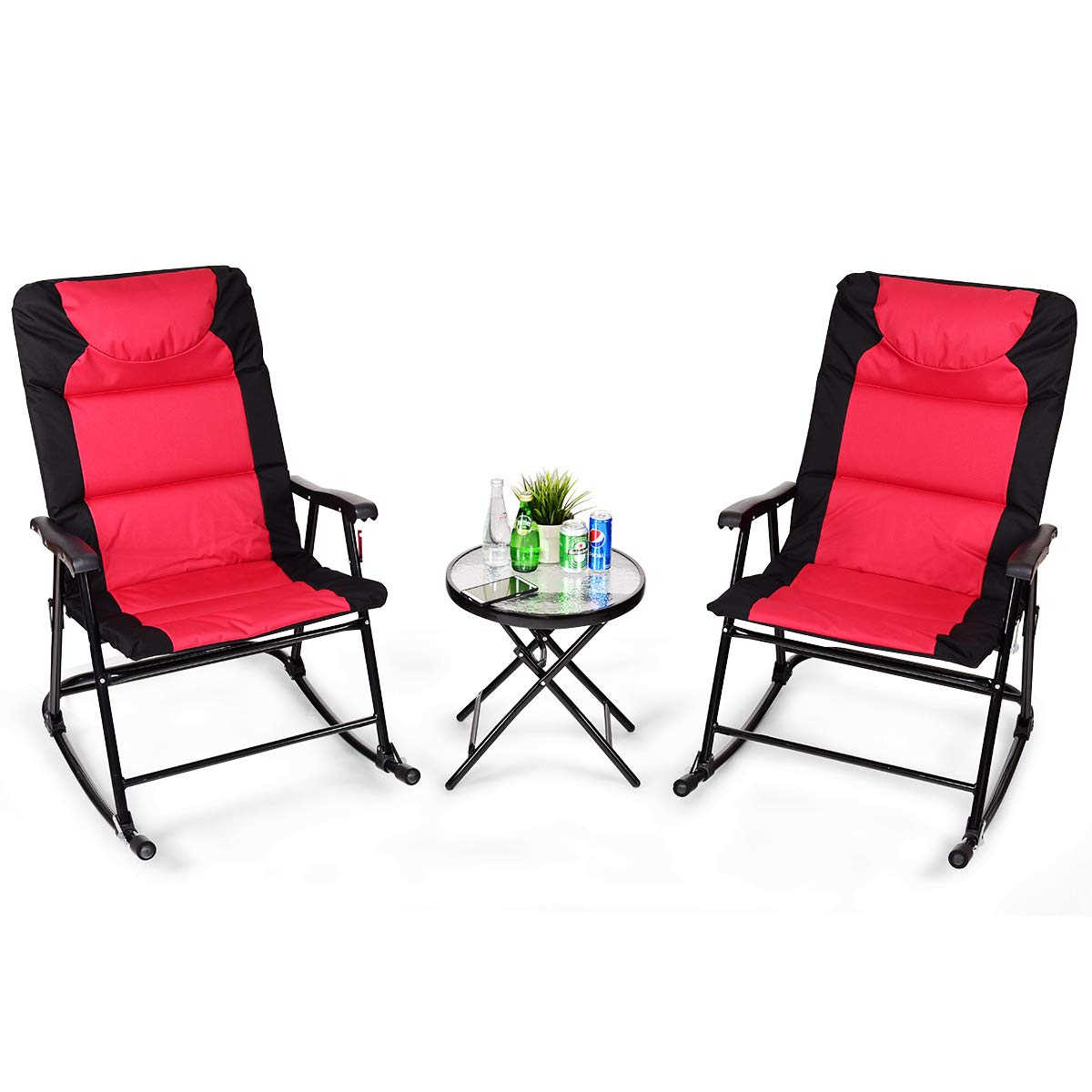 Giantex 3 PCS Folding Bistro Set Outdoor Patio Rocking Chairs Round Table Set 2 Rocking Chairs w/Glass Coffee Table for Yard, Patio, Deck, Backyard Padded Seat, Red & Black