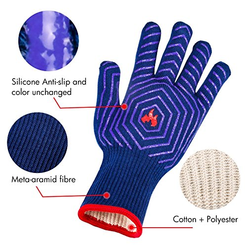 BBQ Grilling Gloves Barbecue Grill Gloves BBQ Oven Mitt Oven Gloves 932°F Heat Resistant Heavy Duty Cotton Cooking Gloves Silicone Insulated for Smoker, Camping Fire Pit, Outdoor Baking, Kitchen by UNEEDE (Image #3)