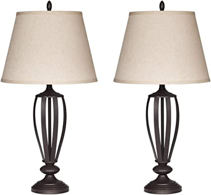 Contemporary Table Lamps - Set of 2 - Lightning For Your Bedroom Or Living  Room - Empire Shade - Bronze Metal Base - 3-way Switch - 150 Watt max