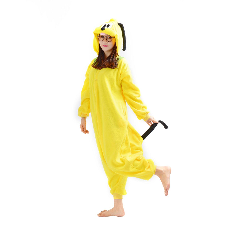 Casa Adult Pajamas - Unisex Fleece Onesie Sleepsuit Animal Onesies Kigurumi Hooded Pyjama Nightwear Costume One-Piece Polo Dogs S-XL