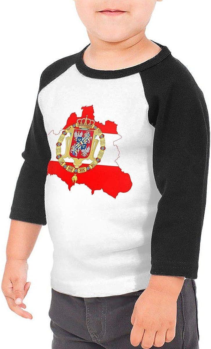 Flag Map of The Polish Lithuanian Kids Jersey Raglan T-Shirt Children 3//4 Sleeve Baseball Shirt Top
