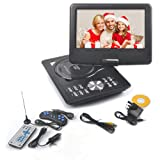 "9'' Portable DVD Player Swivel Screen with Rechargeable Battery, Rainyblue 270° LCD Eye Protection Swivel Screen, In Car Charger Game SD USB, with Remote Controller + Game handle +Car Charger (Black 9"")"