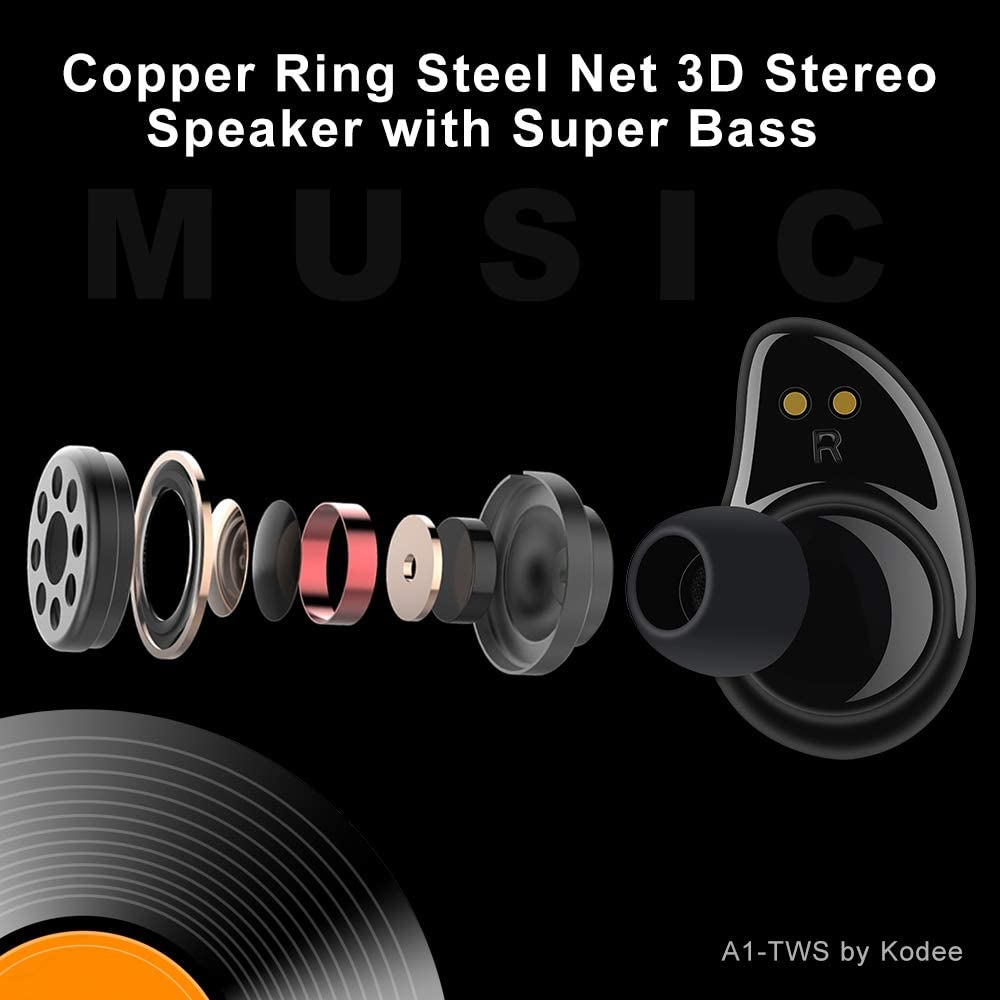 3D Stereo Sound BLACK KODEE A1-TWS Smart mini Wireless Bluetooth Noise Cancellation Earbuds//In Ear Magnetic Automatic Charging,Sweat Proof Compatible with IOS and Android. Bluetooth 5.0 Portable Fashion Design with Charging Case Binaural Call