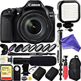 Canon EOS 80D 24.2 MP CMOS Digital SLR Camera w/ EF-S 18-135mm f/3.5-5.6 IS USM Lens with 128GB SDXC Dual Battery & Shotgun Mic Pro Mobile Video DigitalAndMore Complete Bundle