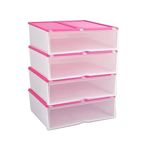 4X Cajas para Zapatos y Botas Cortas Plásticas, Organizadores de Almacenaje Apilables Transparentes, Rosa